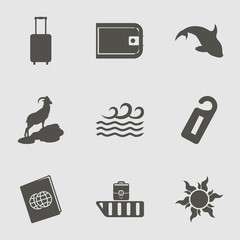 Travel Icon Set with dolphin, international passport, suitcase and label