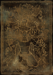 Zodiac sign Aries on grunge texture background. Hand drawn fantasy graphic illustration in frame