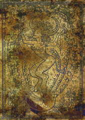 Zodiac sign Taurus on old fabric texture background. Hand drawn fantasy graphic illustration in frame