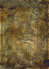 Zodiac sign Virgo on old fabric texture background. Hand drawn fantasy graphic illustration in frame