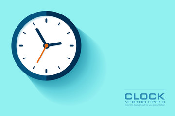 Simple Clock in flat style. Watch on blue background. Business illustration for you presentation. Vector design object.