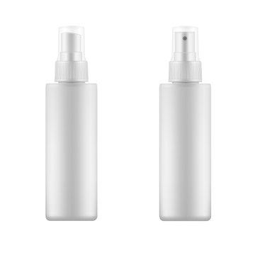Set of white blank spray bottles.
