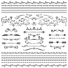 Vintage decorative dividers, curls and swirls collection. Hand drawn vector design elements.
