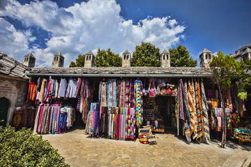 MOSATR BOSNIA HERZEGOVINA - AUGUST 15, 2014:  stalls with souvenirs .  15 August 2014 Mostar  Bosnia Herzegovina