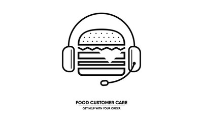 Burger wearing headphone. Food customer care concept. Restaurant help desk.