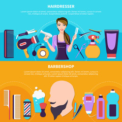Hairdresser Colored Banner Set