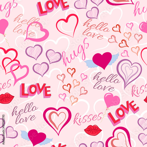 Hearts And Kisses Love Seamless Pattern Doodle Style Love Symbols