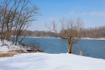 The flowing river and the snowy park landscape.