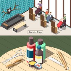 Barbershop Isometric Banners