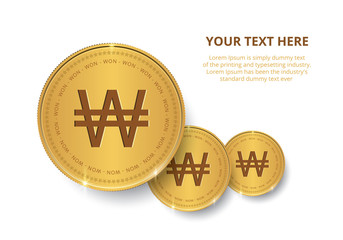 Gold coin with Won sign