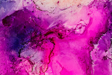 Watercolor with purple, pink and blue.