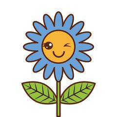 cute wink kawaii flower decoration cartoon