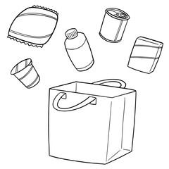 vector set of bag, beverage and snack