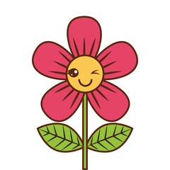 beautiful flower wink kawaii cartoon