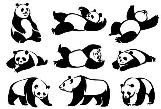 Set of decorative illustrations pandas.