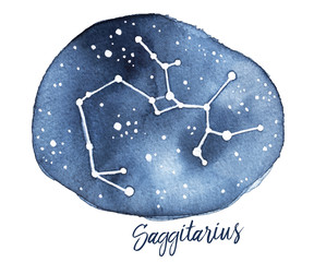 Sagittarius Zodiac Sign in the shape of Star Constellation in Night Sky. Hand drawn water color paint on white, cutout. Symbol of movement, cooperation, wisdom, ideas, commander, spiritual leader.