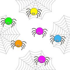 Seamless texture of cartoon spiders.