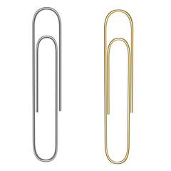 Vector realistic paper clip. Paper clip for gold and silver colors. Isolated on white. Gold and silver gradient. Vector EPS 10.