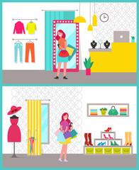 Women Shopping Posters Set Vector Illustration