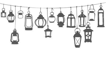 Hunging lanterns. Black on white doodle illustration