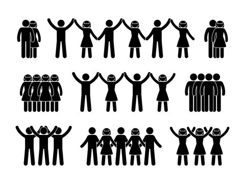 Stick figure group people icon. Vector illustration of crowd pictogram on white