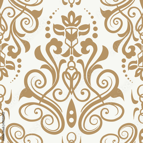 Seamless Pattern With Damask Ornament Wallpaper Modern Background