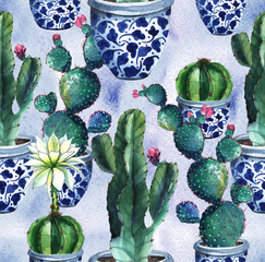 Cactus. Watercolor seamless pattern