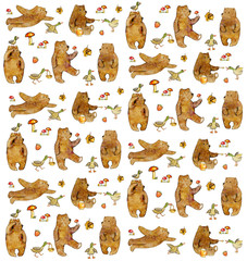 Hand drawn cartoon watercolor pattern  for children design with mushrooms, strawberries and acrons, bears and ducks - flying, going, eating and sta