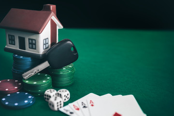 Poker game with high stakes on table
