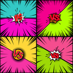 Set of empty comic book style background. Versus illustration. Design element for banner, poster, flyer.