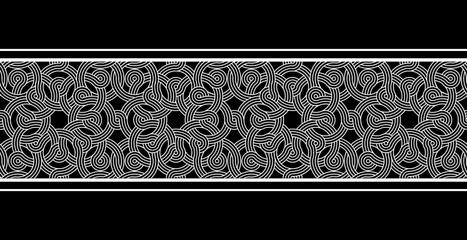 Vintage seamless horizontal border. Black and white