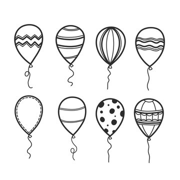 Hand-drawn doodle balloons have many styles for decorating. Vector illustration.
