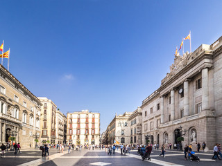 Sant Jaume Square in Barcelona downtown