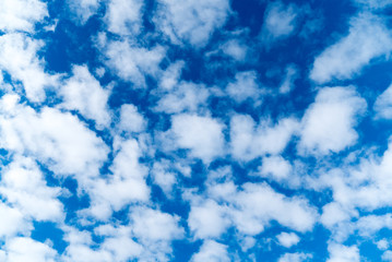 blue sky and white cloud background with copy space