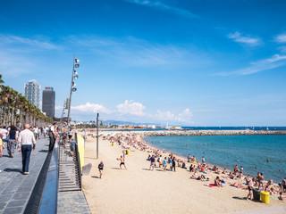 Sunny day in the Barceloneta beach