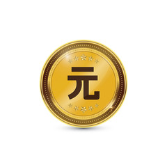 Gold coin with Yuan Currency sign
