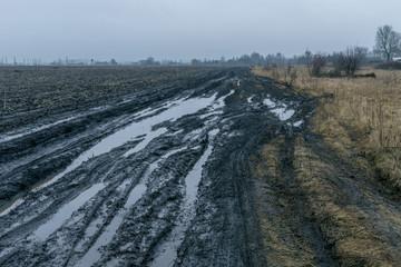 Bad rural road after shower