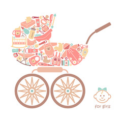 Icons of products for babies In the form of a baby carriage