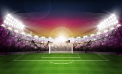 Football arena field with bright stadium lights and evening sunset vector design. Vector illumination