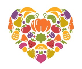 Heart from fruit and vegetables