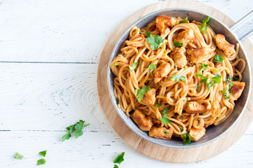 Chicken spaghetti pasta with tomato sauce