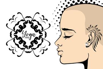 Bald tattoo woman yoga banner pop art. Calm vector illustration. India mehendi pattren. Wow girl face cartoon style design. Pretty woman portrait. Halftone dotted background. Vintage lettering.