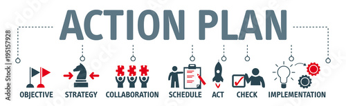 banner action plan concept vector illustration with keywords and