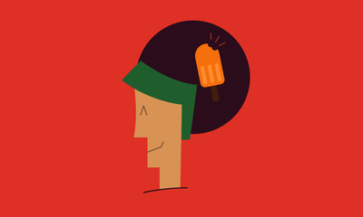 happy man character  thinking of popsicle. vector illustration. eps 10