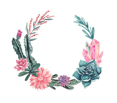 Wreath of flowers, succulents, cacti, gemstones and leaves. Watercolor illustration on white isolated background. Floral frame for text