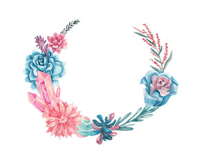 Wreath of flowers, succulents, gemstones and leaves. Watercolor illustration on white isolated background. Floral frame for text