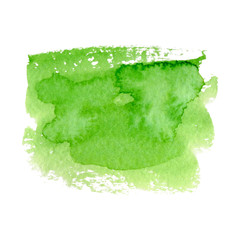 Vector green watercolor natural, organic, bio, eco labels and shapes on white background. Hand drawn stain