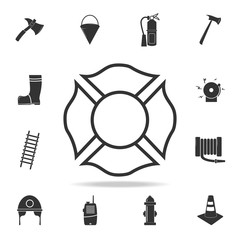 Firefighter emblem icon. Detailed set icons of firefighter element icons. Premium quality graphic design. One of the collection icons for websites, web design, mobile app