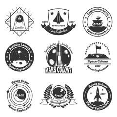 Space Monochrome Emblems Set