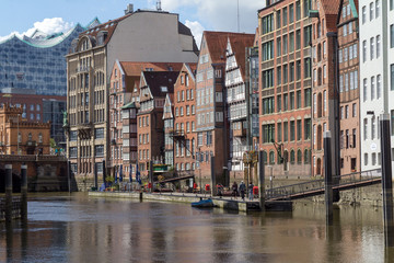 Old buildings near the water in hamburg